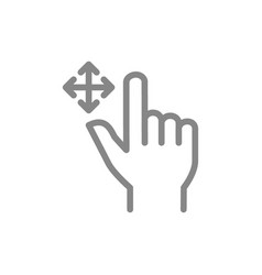drag flick with two fingers line icon multi touch vector image