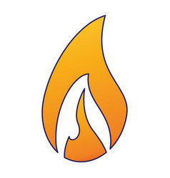 fire flamme symbol blue lines vector image