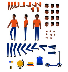 Flat african student creation set vector