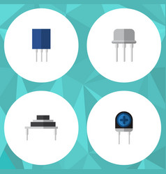 Flat icon appliance set of resist transducer vector