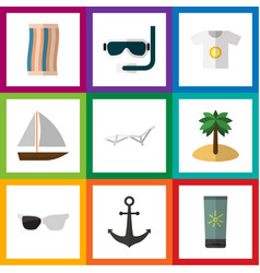 Flat icon beach set of clothes wiper scuba vector