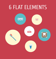Flat icons radiology artificial teeth vector