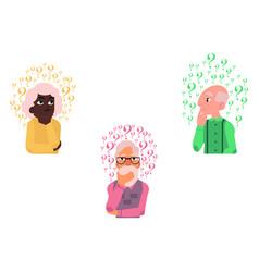 Flat old elderly woman man thinking set vector