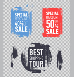 Flat sale labels on transparent background vector