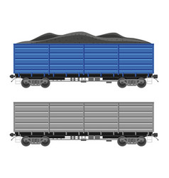 freight boxcar wagon with coal vector image