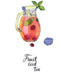 Fruit iced tea in pitcher vector