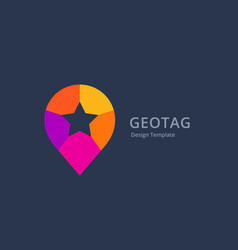 Geotag with star or location pin logo icon design vector