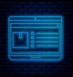 Glowing neon line laptop with app delivery vector