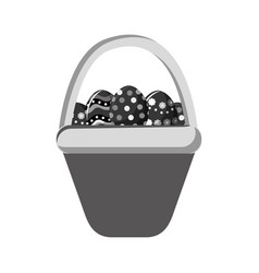 Grayscale hamper with eggs easter inside vector