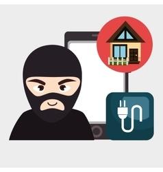 hacker criminal information icon vector image