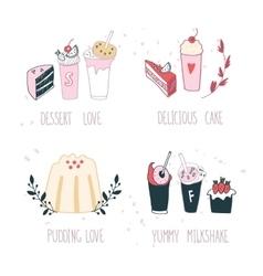 Hand drawn delicious dessert collection Milkshake vector image