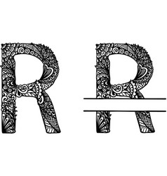 Hand drawn letter r vector
