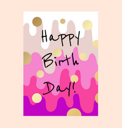 happy birthday cake layers card design vector image