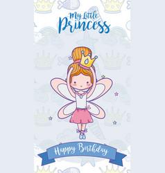 Happy birthday with cute fairy card vector