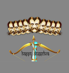 happy dussehra indian holiday poster with face of vector image