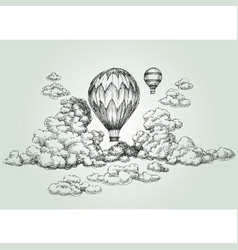 Hot air balloon drawing vector