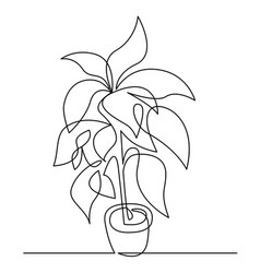 Houseplant in pot continuous one line vector