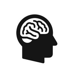 human head profile with brain symbol simple black vector image