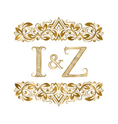 I and z vintage initials logo symbol the letters vector