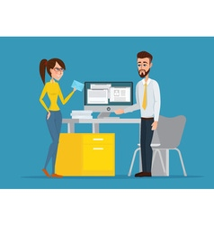 image of the man and woman at their working place vector image