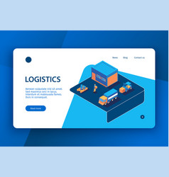 isometric logistics website design vector image