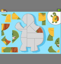 Jigsaw puzzle game with cartoon tortoise vector