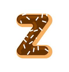 Letter z donut font doughnut alphabet sweet vector