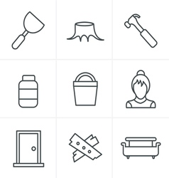 Line Icons Style Icons set carpentry vector image