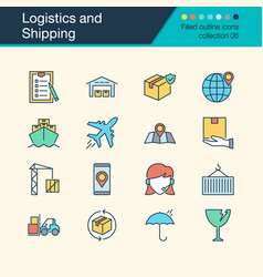 logistics and shipping icons filled outline vector image