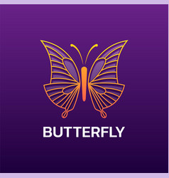 logo butterfly line art style vector image
