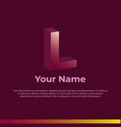 Logotype alphabet 3d logo letter l monogram logo vector
