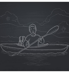 Man canoeing on the river vector