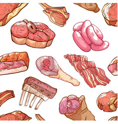 meat seamless pattern on white vector image