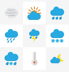 Meteorology flat icons set collection of rain vector