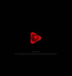 modern futuristic red triangle play button vector image