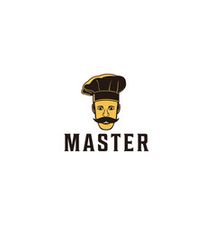 mustache asian chef logo designs inspiration vector image