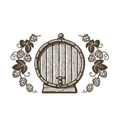 old wooden beer barrel framed branches hops vector image