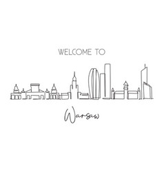 one single line drawing warsaw city skyline vector image