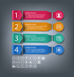 paper infographic banners with 4 steps options vector image
