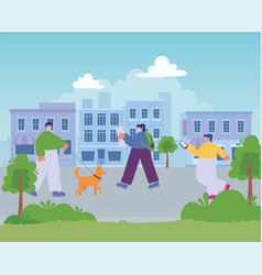 people walking street city man with dog and girls vector image