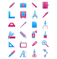 Pink blue design icons set vector image
