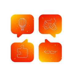 puzzle air balloon and theater masks icons vector image