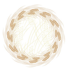 Round frame with wheat vector