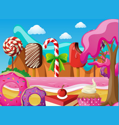 Scene with icecream and desserts on the beach vector