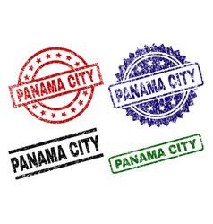 Scratched textured panama city stamp seals vector
