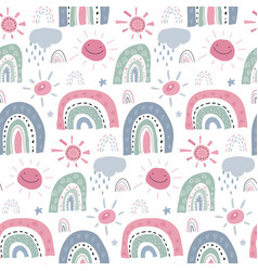 seamless pattern with rainbow clouds sun vector image