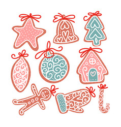 set christmas gingerbread cookie in flat hand vector image