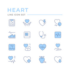set color line icons heart vector image
