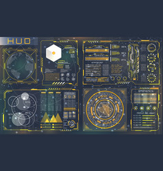 set hud elements for futuristic design vector image