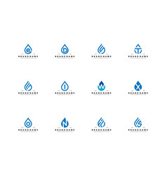 Set letter water drop logo design vector